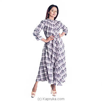 Check Linen Long Dress - XL Online at Kapruka | Product# clothing0621_TC3