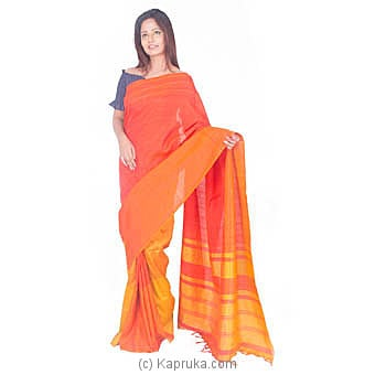 Orange And Yellow Rayon Saree Online at Kapruka | Product# clothing0637