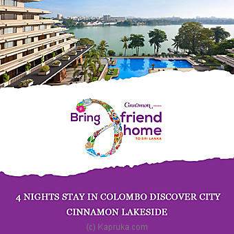 Cinnamon Lakeside 4 Nights Stay In Colombo Discover City - Per Person Sharing In DBL Room On BB Basis Online at Kapruka | Product# giftV00Z170_TC1