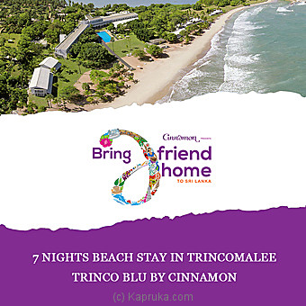 Trinco Blu By Cinnamon-7 Nights Beach Stay In Trincomalee - per person sharing DBL room on HB basis Online at Kapruka | Product# giftV00Z172_TC1