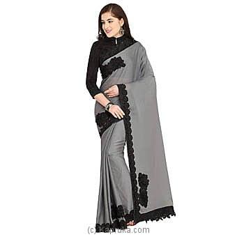 Ash Satin Saree With Blouse Piece Online at Kapruka | Product# clothing0655
