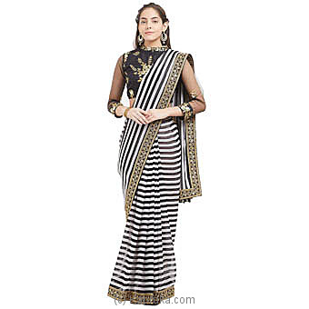 Black And White Striped Printed Saree With Blouse Piece at Kapruka Online for specialGifts
