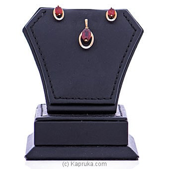 Vogue Diamond And Red Garnets Stone 18K Gold Pendant And Ear Stud Set VALENTINE at Kapruka Online