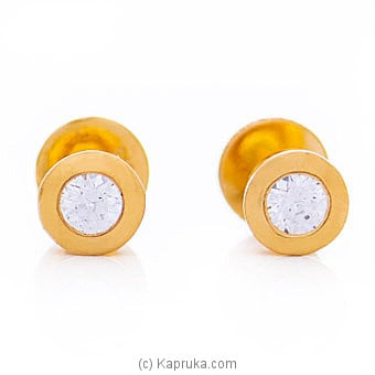 Kapruka Online Shopping Product Vogue 22K Ear Stud Set With 2 Cz Rounds