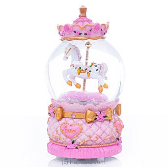 Musical Horse Pink Crystal Globe Ornament