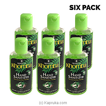 Swadeshi Khomba Hand Sanitizer - Six Bottle Pack (50ml X 6)-limit 2 Packs Per Customer Online at Kapruka   Product# grocery00874