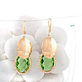 Gold Plated  Earing Pair With Green Stones at Kapruka Online
