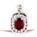 Garnet Stone Pendant With Silver Chain at Kapruka Online