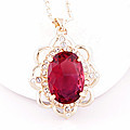 Ruby Crystal Stone Pendant With Chain at Kapruka Online