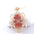 Orange Stone Crystal Pendant With Chain at Kapruka Online