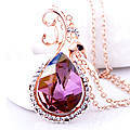 Purple And White Crystal Stone Pendant With Chain at Kapruka Online for specialGifts