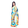 Blue And Yellow Silk Bathik Saree at Kapruka Online for specialGifts